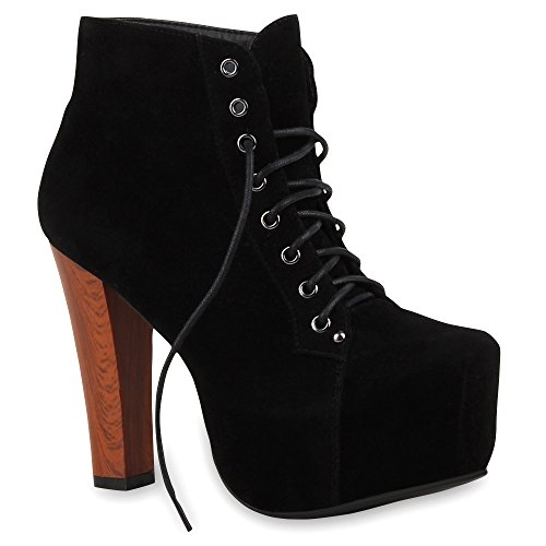 Damen Stiefeletten Plateau Boots Spitze Blockabsatz 70s Look High Heels Plateau Schuhe 26347 Schwarz...