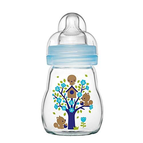MAM Feel Good Babyflasche aus Glas (170 ml), Babyflasche mit weiter Öffnung, stabile Baby Trinkflasche mit Sauger Gr. 1, ab der Geburt, Naturmotive, blau