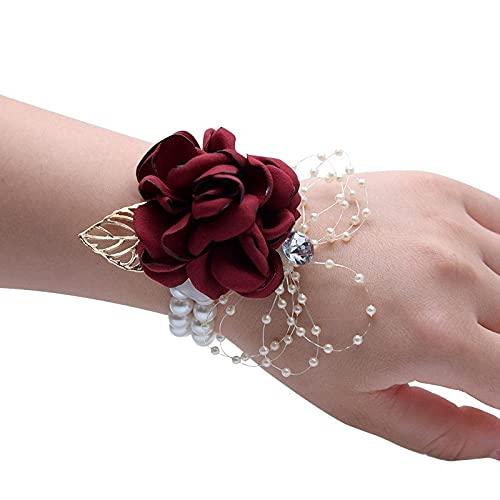 XiaoYing Accesorios de boda para novia de seda ramillete de dama de honor hermanas de mano flor de boda pulsera de novia (color: rojo, tamaño: 6 x 8 cm)