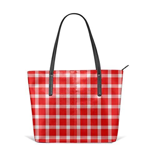 Liliylove Buffalo Karo Picknick-Decke mit Muster, für Damen, PU-Leder, Schultertasche, großes Fassungsvermögen