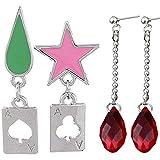 Branches&tree Anime Hunter x Hunter Hisoka/Kurapika Cosplay Earrings Stars Teardrop Poker Earring Stud Ear Clip Jewelry Accessories(Multicolor-Two Pairs)
