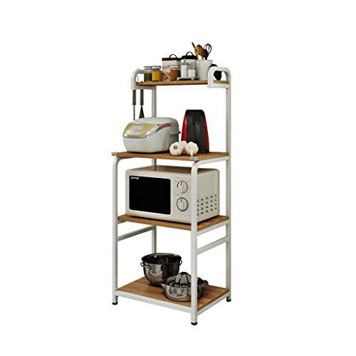 Lipenli Titular microondas 23.6' Almacenamiento de Herramientas Utilidad de cocina de 4 capas de almacenamiento en rack Mesa de Trabajo Stand Up Multi Capa horno de carro (Color: Beige, Tamaño: los 60