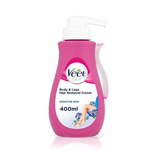 Veet crema depilatoria con aloe vera & vitamina e para la piel sensible 4