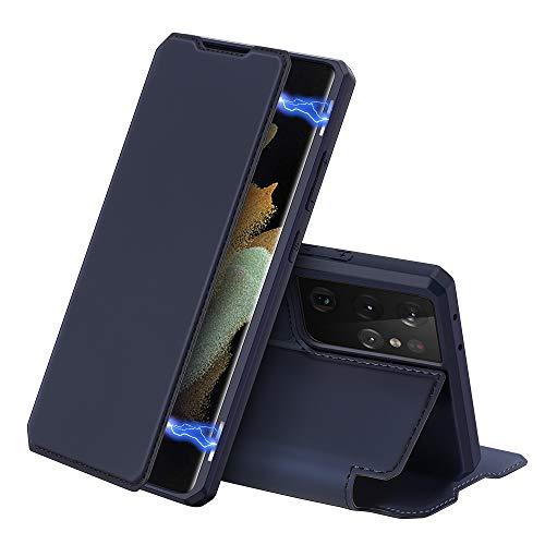 DUX DUCIS Hülle für Samsung Galaxy S21+ Plus 5G, Premium Leder Magnetic Closure Flip Schutzhülle handyhülle für Samsung Galaxy S21+ Plus 5G Tasche (Blau)