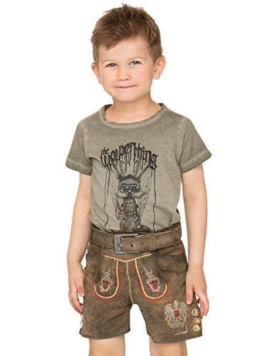 Stockerpoint Trachten Kinder Lederhose mit Gürtel kurz Austria JR hanf, Gr. 134-140