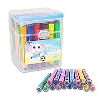 SAYEEC 水性カラーペン 水彩ペン 36色セット 子供向け設計 塗り絵・絵描き・落書き用 ・絵画学用 色鮮やかな 安全安心 水洗い可能 印章付き 収納ケース付き