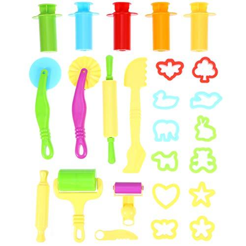 HEALLILY Klei Deeg Gereedschap Kit Speel Doh Sets Speel Doh Vormen Snijders en Gereedschap Plastic Speel Deeg Gereedschap Accessoires 20PCS Willekeurige Kleur
