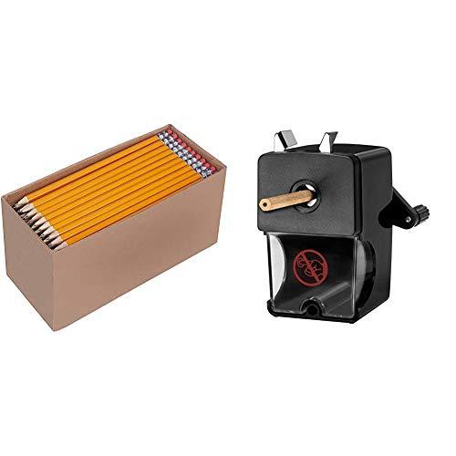 AmazonBasics - Holzgefasste Bleistifte, HB, vorgespitzt, 150er-Pack & Westcott E-14216 00 Anspitzer für Stiftdurchmesser 7 bis 12 mm, manuell, schwarz