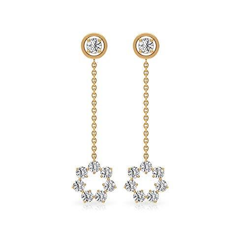 0.42Ct IGI Gecertificeerde Diamond Cluster Oorbel, Antieke Bloem Vrouwen Drop Oorbel, IJ-SI Kleur Helderheid Diamond Oorbel, Gouden Ketting Oorbel Voor Haar, 14K Geel goud, Paar