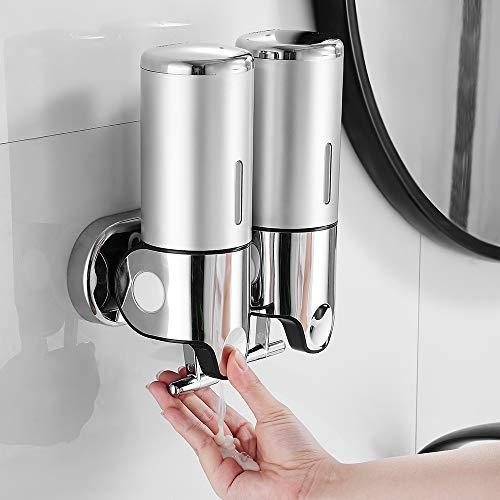 Hands DIY 500 ml x 2 dispenser di sapone da parete, dispenser di sapone a doppia testa, dispenser liquido per doccia, shampoo per cucina, bagno, hotel (anictà)