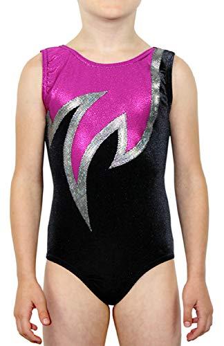 Maillot de gimnasia Java elástico Velvet y licra brillante, para niña, terciopelo, manga corta, camiseta de gimnasia para niños, camiseta de gimnasia | ML111288 color negro/rosa, talla 158