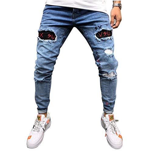 SCHOLIEBEN Pantalon en Denim à Trou Droit Coton pour Hommes Jeans Jean De Travail Bootcut Bleu DéLavé Homme Coupe Ample Grandes Tailles(Light Blue,S)