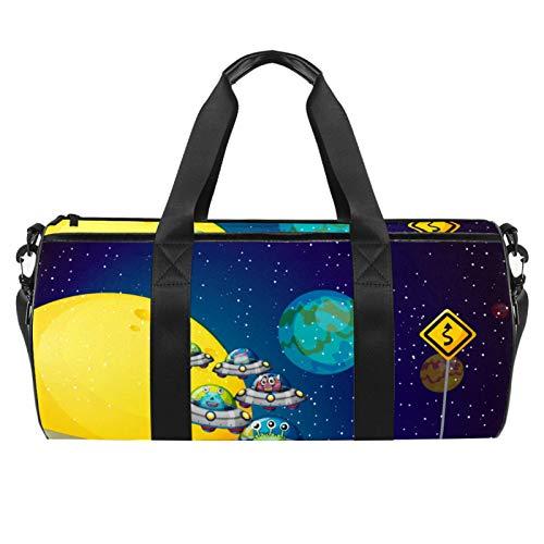 HANDIYA Sporttasche für Damen und Herren, zum Tanzen, Reisen, 45,7 cm, lustiges Raumschiff, Erde Monster Astronaur Design