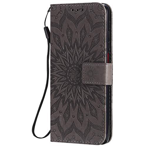 KKEIKO Hülle für Xiaomi Redmi K30, PU Leder Brieftasche Schutzhülle Klapphülle, Sun Blumen Design Stoßfest Handyhülle für Xiaomi Redmi K30 - Grau