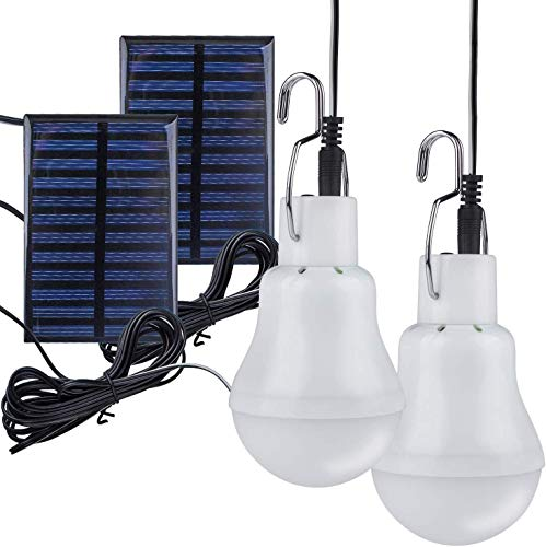 Lampelc Solar Light Bulbs Powered Solar Shed Camping Light Lamps for Outdoor Indoor Home Chicken Coop and Tent - 2 Packs