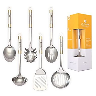 LUMOUR 6-Piece Stainless Steel Kitchen Cooking Utensil Set (Stainless Steel)