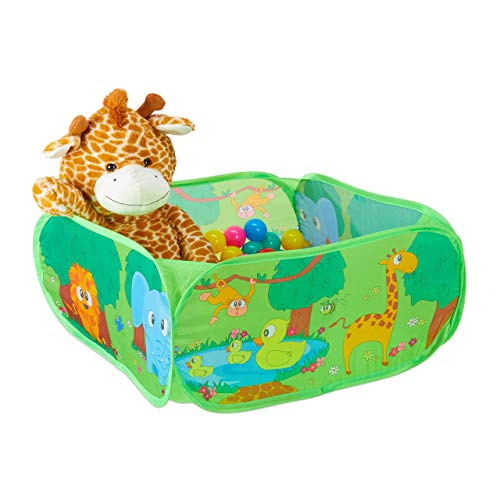 Relaxdays Bällebad Baby, 50 Bunte Bälle, Dschungel Ballzelt quadratisch, Pop-Up, HBT: 34 x 71 x 71 cm, Bällchenbad, grün