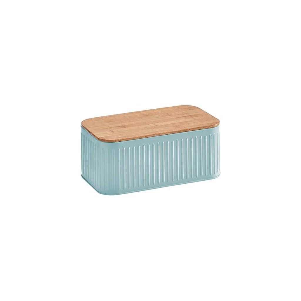 Zeller bread bin with bamboo lid - Mint Green