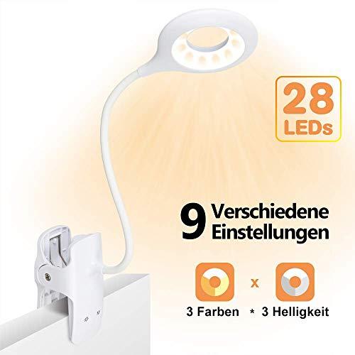 Leselampe, SINJIAlight LED Klemmlampe 9 Modi per Touch-Sensor-Taste Gewählt, Schwanenhals Klemmleuchte Aufladen über USB-Anschluss, für Bett, Leseschreibtisch, Nachttisch, Kopfteil [Energieklasse A++]
