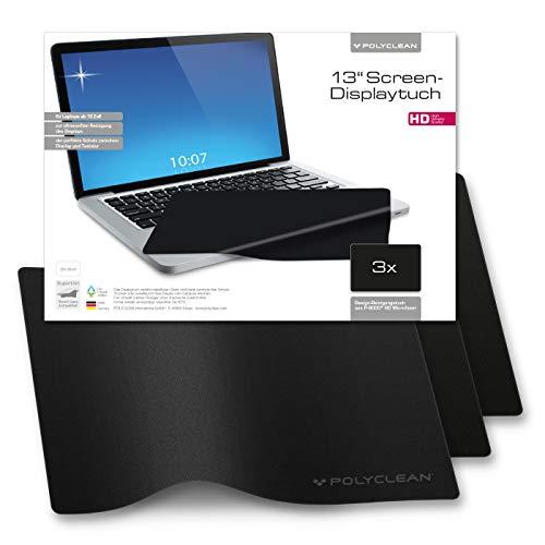 POLYCLEAN 3x Displaytuch – 13 Zoll Microfasertuch für Bildschirm, Laptop und Tastatur – Reinigungstuch zum Schutz von Notebook und Tablet (29x20 cm)