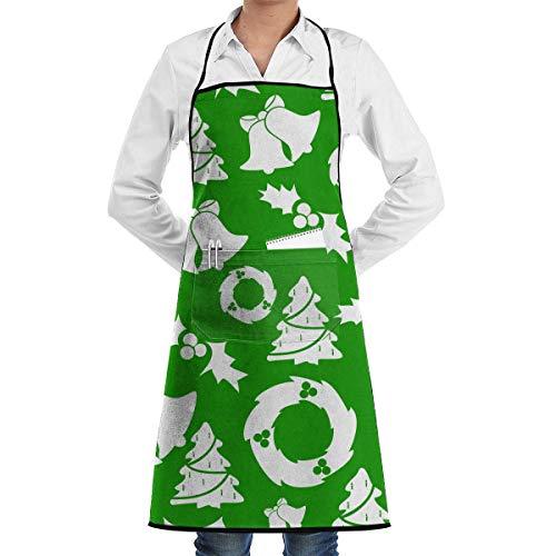 xcvgcxcvasda Einstellbare Latzschürze mit Tasche, Christmas Tree and Bells Faction Unisex Kitchen Cooking Garden Schürze,Convenient Adjustable Sewing Pocket Waterproof Chef Schürzes