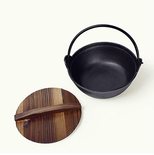 Gusseisen Topf, Eine gute Abdichtung sukiyaki Topf unbeschichteten Antihaft-Pfanne Suppentopf japanische Art Uncoated Gusseisen Herd Kochgeschirr Suppentopf Sukiyaki,19cm