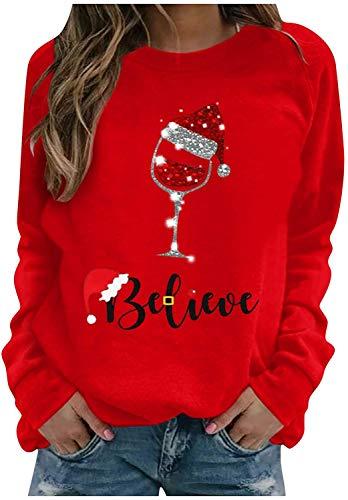 Top natalizio da donna, a maniche lunghe, con scollo rotondo, con stampa in vetro di vino, divertente grafica, con motivo natalizio