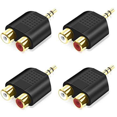 Greluma 4 Pezzi da 3,5 mm a RCA Splitter, Adattatore Audio Stereo da 3,5 mm Maschio a Doppio RCA Femmina