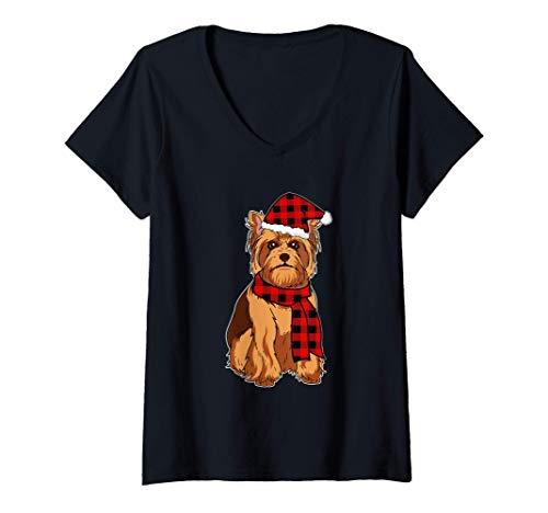 Donna Divertente Yorkshire Terrier Natale Regalo Cani Maglietta con Collo a V