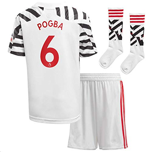 Jertinhf 2020-2021 Kids/Youths Third Soccer Jersey/Short/Socks Colour White (Manchester United Pogba #6(5-6years/size20))