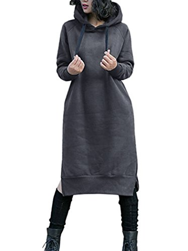 NUTEXROL Women's Thickening Long Fleece Sweatshirt String Hoodie Dress Pullover Plus Size,Dark Grey,X-Large