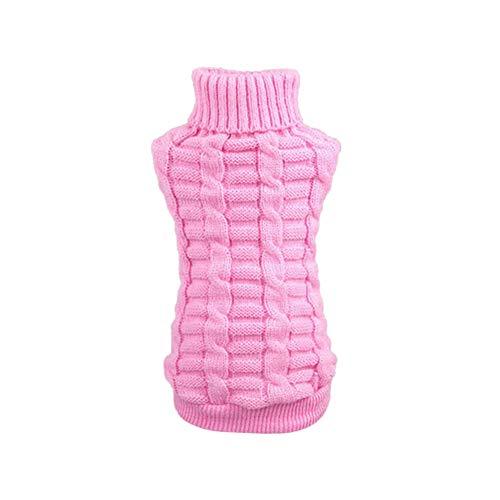 Austinstore Hundemantel Katzenbekleidung Hundejacke,Winter-Haustier-Hundewelpen-warme gestrickte Strickjacke kleidet Mantel-Kostüm-weiches Kleid Pink XXL