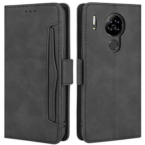HualuBro Handyhülle für Blackview A80 Hülle Leder, Flip Case Cover Stoßfest Klapphülle Handytasche Schutzhülle für Blackview A80 2020 Tasche (Schwarz)