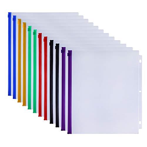 Antner 12 Pack Binder Pockets Letter Size 3 Holes 11.4 x 9.8 Zipper Binder Pouch Folders for 3 Ring Binder, 6 Colour PVC Waterproof Loose Leaf Bags