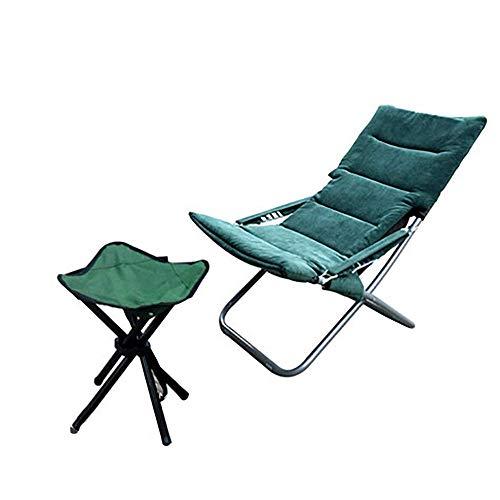 LHQ-HQ Verde Oscuro con la Silla y el reposapiés Silla del Ocio Multifuncional for Interiores como Exteriores, fácil y portátil Plegable (de Color: Verde)
