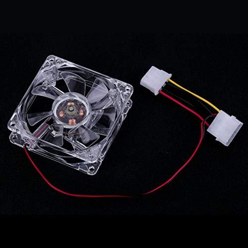 SeniorMar Ventiladores de 80 mm de fácil instalación 4 LED Azules para la Caja de la PC de la computadora Enfriamiento de la PC Ventilador de enfriamiento de la CPU Tipo silencioso Transparente