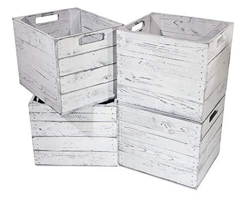 8X Vintage-Möbel 24 Kiste Vintage für Kallax Regale weiß/Weiss 33cm x 37,5cm x 32,5cm Einlagekiste grau IKEA Kallax Expedit Einsatz Aufbewahrungskiste Obstkisten Weinkisten DIY
