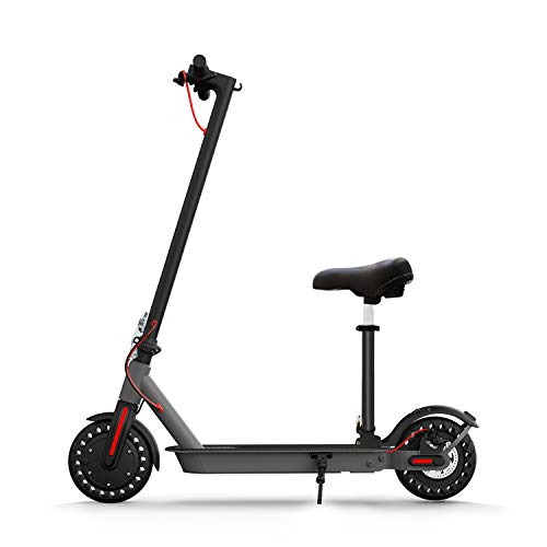 Hiboy S2 Electric Scooter with Seat - 8.5' Solid Tires - Up to 17 Miles & 18.6 MPH Folding Commuting Scooter for Adults with Double Braking System, Rear Suspension and App