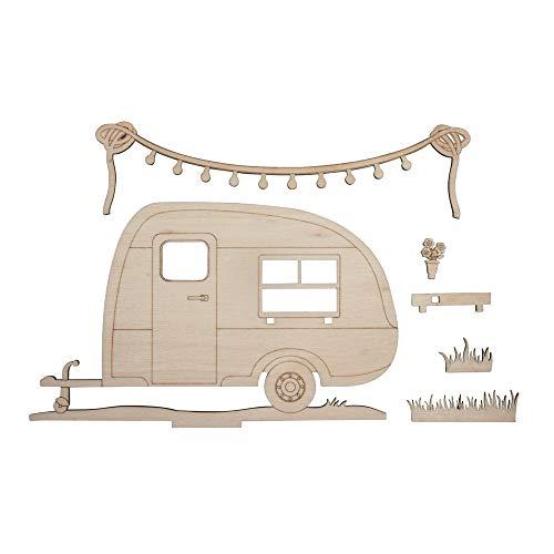Rayher 46423505 Holzmotiv Wohnwagen, FSC zertifiziert, natur, 20 x 11,5 x 0,4 cm, 6teilig, zum basteln und bemalen