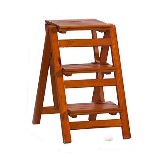 Barkruk multifunctionele vouwladder kruk, massief houten bloemenrek staande huishouden houten ladder multifunctioneel indoor opstapladder bruin