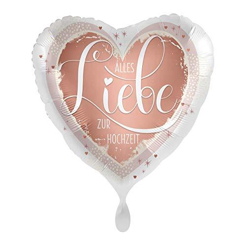 Satin Folienballon Hochzeitsballon - Alles Liebe zur Hochzeit Rosegold - geeignet zur Befüllung mit Helium Gas oder Luft - Europäische Premiumqualität - Hochzeit, Luftballon, Herzballon