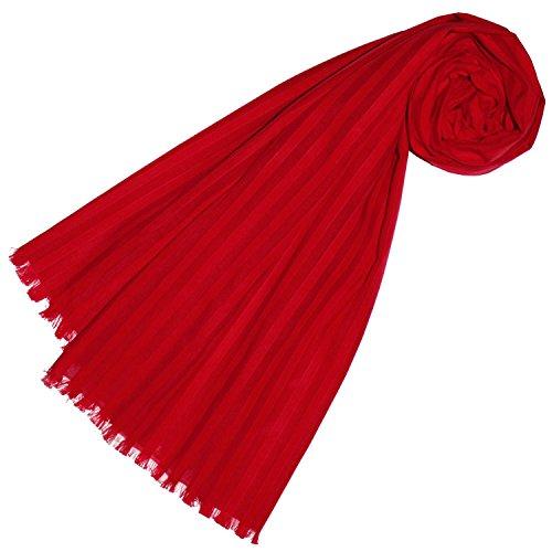 LORENZO CANA Foulard de 89% coton et 11% soie pour la femme – écharpe jacquard avec les mesures de 55 x 180 cm - agréable à porter, élégant et discret pour le printemps et l´été – en rouge