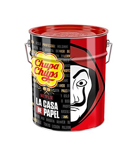 Chupa Chups - Pot de 150 Sucettes CASA DE PAPEL - Sucettes à la Pulpe de Fruits + Sucettes Cola et Milky - Idéal pour Halloween et Fêtes d'Anniversaires - COLLECTOR 1.80 kg