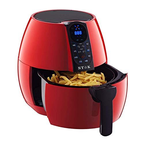 SToK 4 Liters 1500W Smart Rapid 3D Air Technology Digital Air Fryer With Double Layer Grill, Red