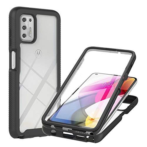 Molg Compatible con Funda Motorola Moto G Stylus 2021 Incorporado Pet Screen Protector Transparent Back Shell 360 ° de Cuerpo Entero Anti-Scratch Anti-Shock Shell-Negro