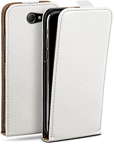moex Flip Hülle für Sony Xperia M2 Hülle klappbar, 360 Grad R&um Komplett-Schutz, Klapphülle aus Vegan Leder, Handytasche mit vertikaler Klappe, magnetisch - Weiß