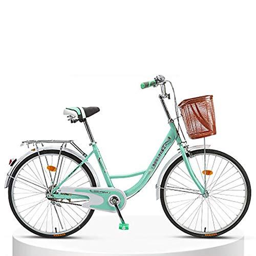 LIXIGB Rund um die Cruiser Bike Frauen mit Gepäckträgern (24-Zoll, 26-Zoll),Green Single Speed(Good),26