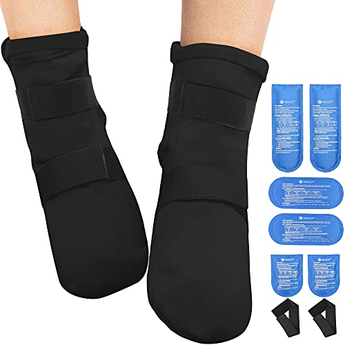 1 Pair Cold Therapy Socks, with 6 Gel Ice Pack and Strap, Reusable Hot Cold Pack Compression Wrap for Foot Ankle, Achilles Tendon Injuries, Plantar Fasciitis, Swelling, Sprain, Heel Pain
