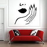 WERWN Salón de uñas Pegatinas de Pared calcomanías artísticas de Pared salón de Belleza decoración de la habitación Esmalte de Labios Manos niñas Papel Tapiz de la habitación
