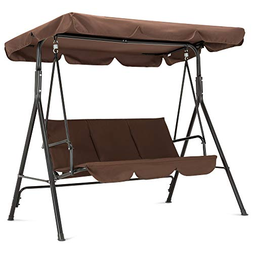 Mcombo 3-Person Outdoor Patio Swing Chair, Convertible Canopy Hanging Swing Glider Lounge Chair, Removable Cushions, 4003 (Brown)
